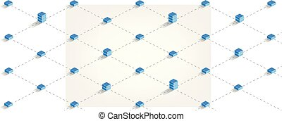 block chain technology concept illustration - blockchain - -...