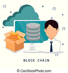 block chain tecnology concept vector illustration graphic...