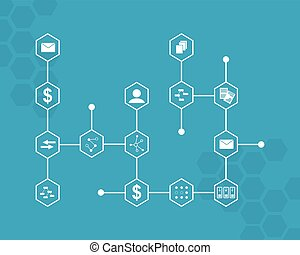 Block chain vector art illustration background collection