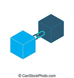 Block chain vector - Blockchain technology symbol, cubes...