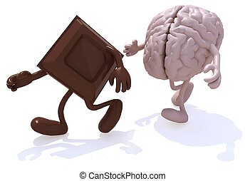block chocolate chased by human brain, 3d illustration