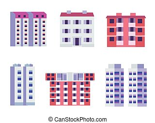 Modern block city apartment buildings for town constructor or real estate agency. Constructivism multistory living houses with balconies in flat design. Bauhaus urban homes icons set.