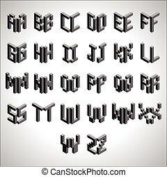 Block Cubic Square Font Set