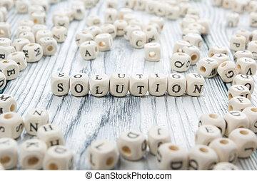 block., geschreven, hout, woord, oplossing