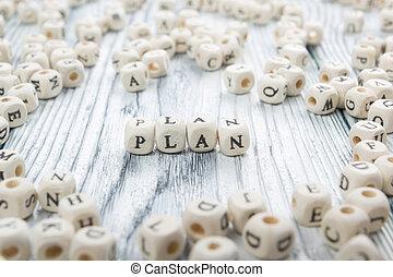 block., geschreven, hout, woord, plan