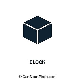 Block icon. Monochrome style design from blockchain icon collection. UI and UX. Pixel perfect block icon. For web design, apps, software, print usage.