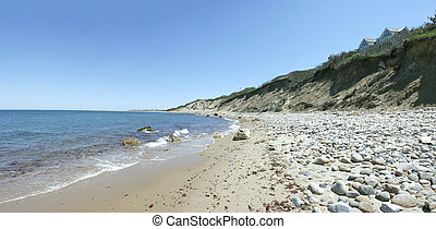 Block Island Cliffs and Dunes Panorama - View of the dunes...