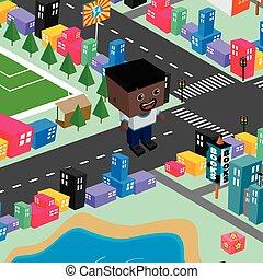 block isometric world cartoon