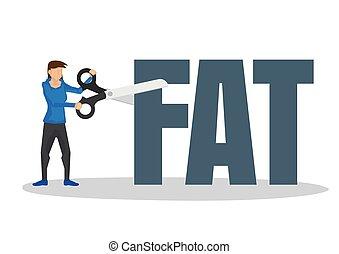 block., menina, conceito, usando, gigante, corte, gorda, scissor, perda peso