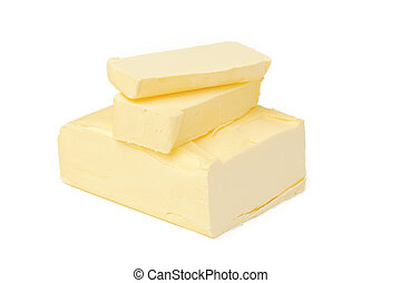 Block of butter isolated on white background