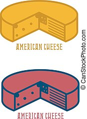 block of cheese with american flag vector design template