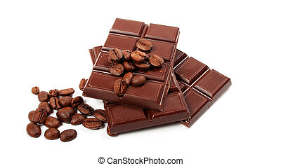 block of chocolate and coffe seeds