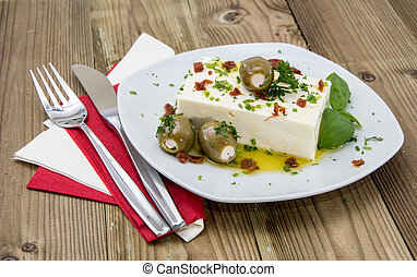 Block of Feta Cheese on a plate