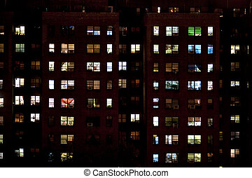 block of flats at night