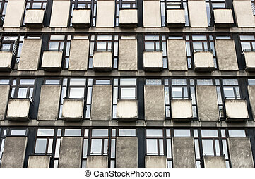 Block of flats background with windows and balconies