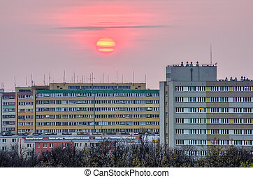 Block of flats during the sunset