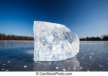 Block of ice lying on the surface