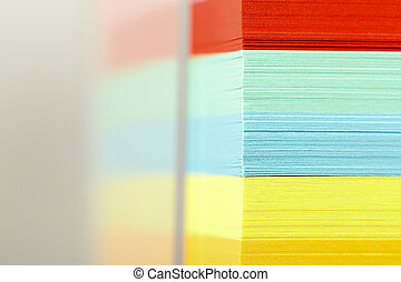 Block of sticky notes - Closeup view of a block of colorful...