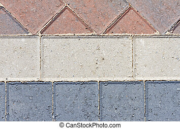 Block pavior driveway showing different patterns
