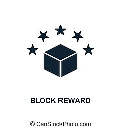 Block Reward icon. Monochrome style design from blockchain icon collection. UI and UX. Pixel perfect block reward icon. For web design, apps, software, print usage.