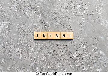 block., table, mot, texte, ikigai, concept, bois, écrit