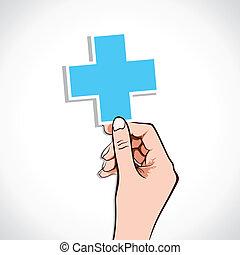 block, underteckna, medicinsk, hand, kors