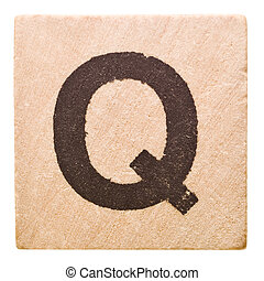 Letter Q - Block with Letter Q isolated on white background
