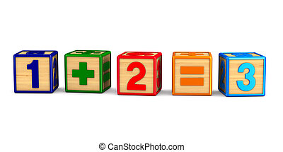 block with number on white background. Isolated 3D ...