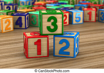 block with number on wooden surface. 3D illustration