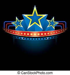 Blockbuster with stars - Cinema style neon with place for...