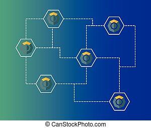 blockchain, シンボル, ネットワーキング, 背景, komodo