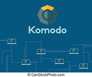 blockchain, シンボル, 技術, 背景, komodo