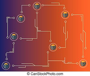 blockchain, シンボル, 接続される, 背景, komodo