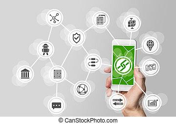 blockchain, 手を持つ, モビール, bitcoin, 電話, 概念