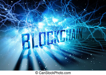 Creative blue blockchain background. Technology concept. 3D Rendering