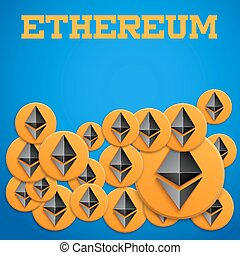 Blockchain background with Ethereum symbols - Ethereum coin...