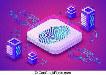 blockchain, biométrie, illustration technologie