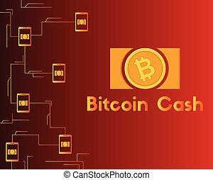 blockchain, bitcoin, collection, espèces, fond, rouges