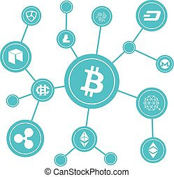 Blockchain blocks with cryptocurrency symbols. Internet...