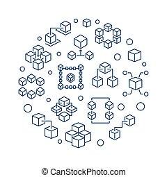 Blockchain circular vector line illustration on white background