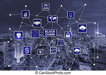 blockchain, conceito, em, base manejo dados