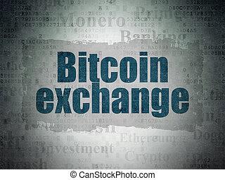 blockchain, concept:, bitcoin, cserél, képben látható, digitális, adatok, dolgozat, háttér