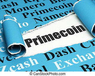 Blockchain concept: black text Primecoin under the piece of  torn paper