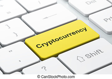 Blockchain concept: Cryptocurrency on computer keyboard background