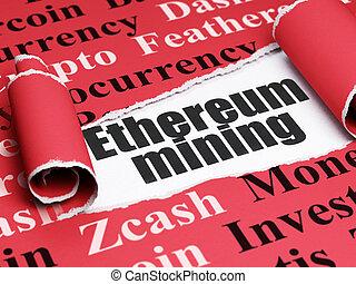 blockchain, concept:, fekete, szöveg, ethereum, bányászás,...