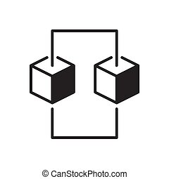 Blockchain concept icon made with two cubes