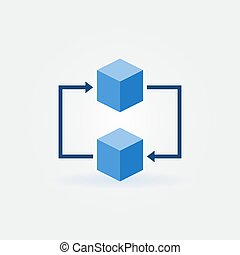 Blockchain concept icon. Vector two blue cubes sign