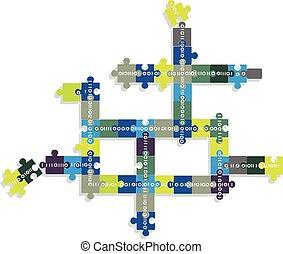 Blockchain concept illustration, EPS 8 vector illustration,...
