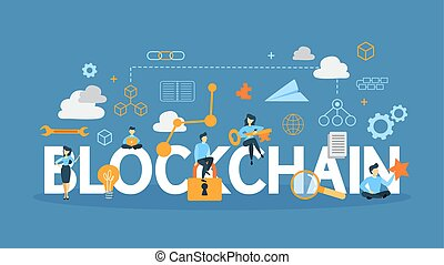 Blockchain concept illustration. Idea of mining, cryptocurrency and ico.