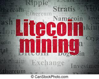 blockchain, concept:, litecoin, bányászás, képben látható,...